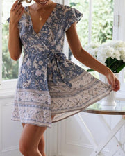 Boho Print Wrap Mini Dress