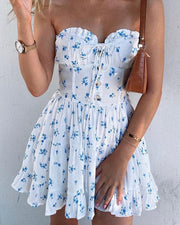 Floral Strapless Ruffled Mini Dress