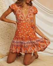 Boho Print Ruffle Trim Dress