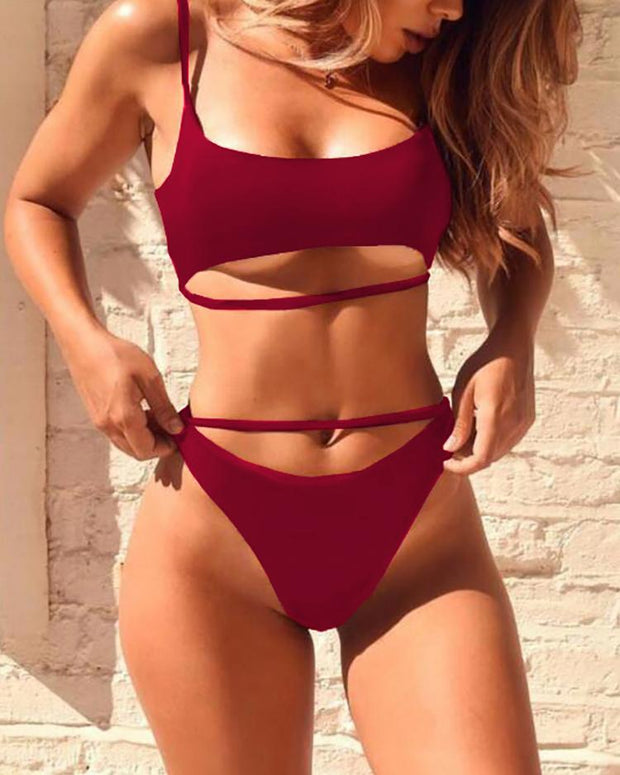 Spaghetti Strappy Cut Out Bikini Sets