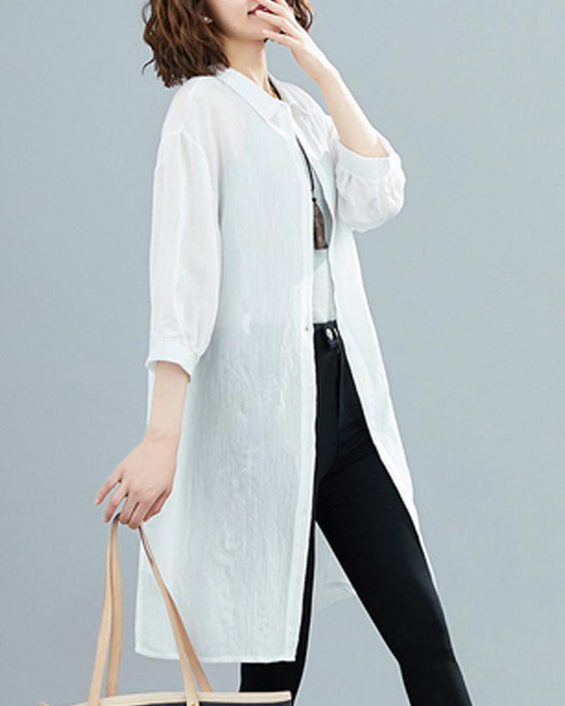 Solid Button Detail Shirt Tunic