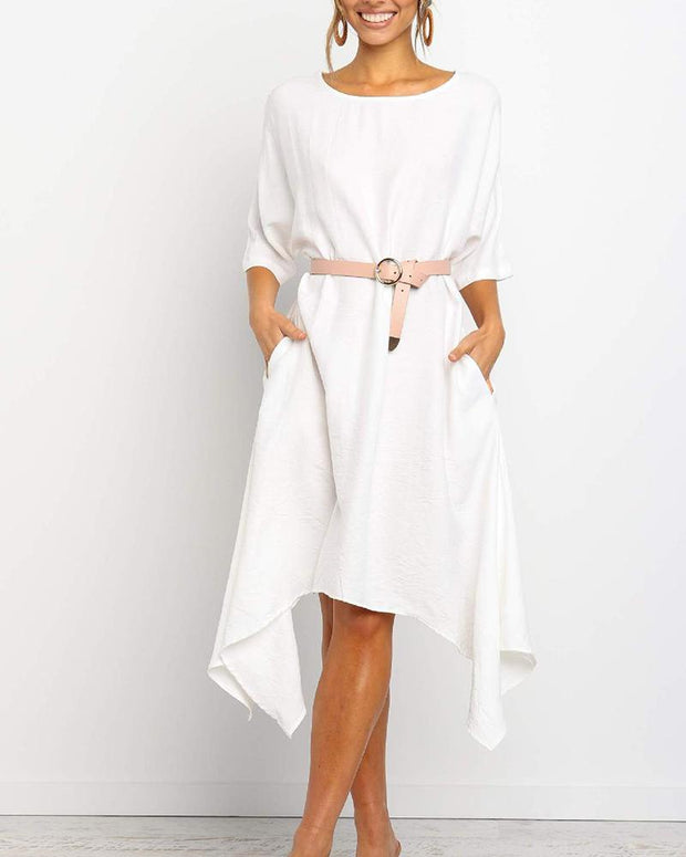 Boat Neck Midi Shift Dress