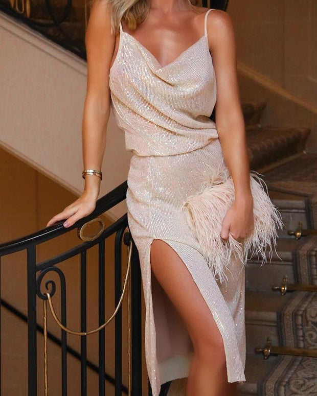 Sequined Slit Cowl Neck Party Dress