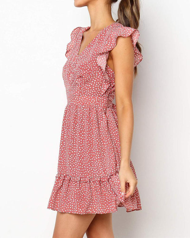 Floral Dot Tie Waist Dress