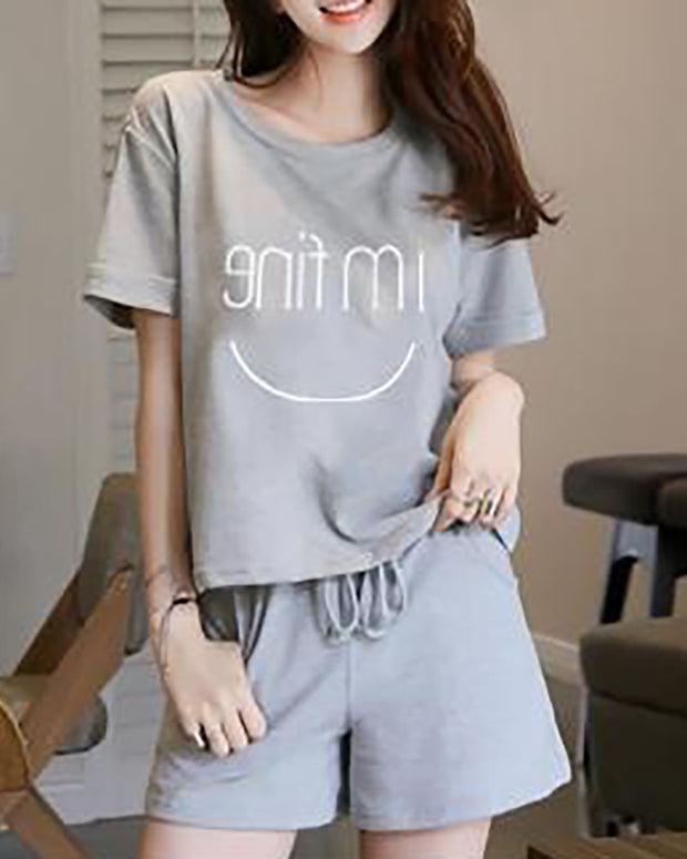 Letter Print Drawstring Short Sleeve Pajamas Set