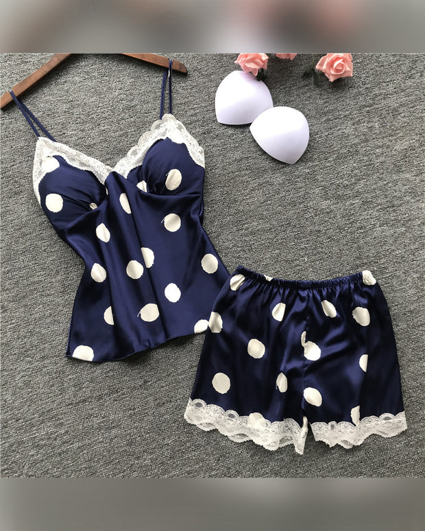 Big Dot Print Strap Lace Contrast Loose Tanks With Shorts Pajamas Sets