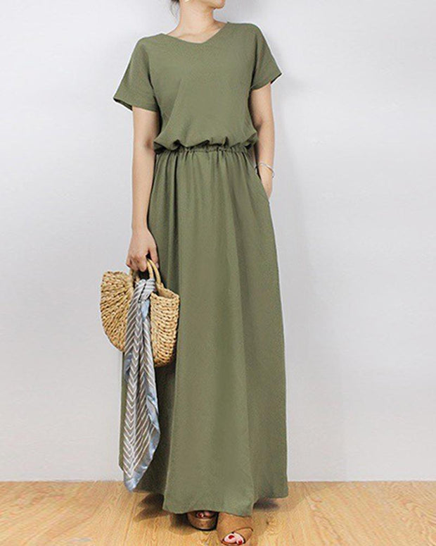 Solid Tie Waist Maxi Dress