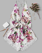 Floral Print Eyelash Lace Slip Dress