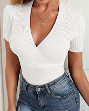 V-Neck Wrap Short Sleeve Knitted Top