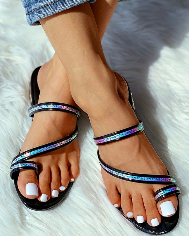 Toe Ring Letter Pattern Flat Sandals