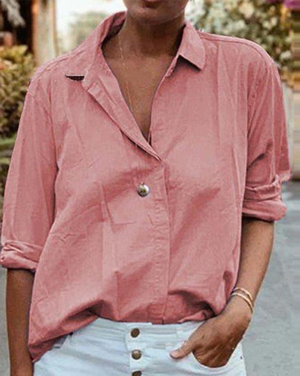 Solid Color Button Down Blouse