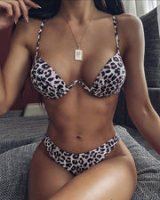 Leopard Print High Waist Bikini Set