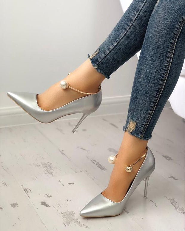 Stylish Beading Decorated Pointed Toe Thin Pumps