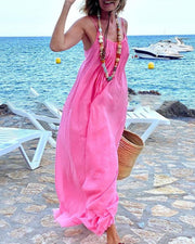 Solid Color Backless Sling Loose Maxi Dress