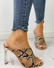 Snakeskin Crisscross Transparent Chunky Heeled Sandals