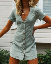 V Neck Button Detail Mini Dress