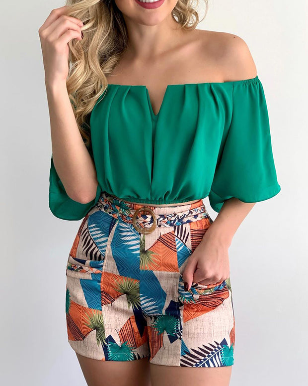 Off Shoulder Ruched Top & Tropical Print Shorts Set With Belt