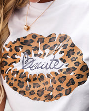 Leopard Mouth Pattern Short Sleeve Casual T-shirt