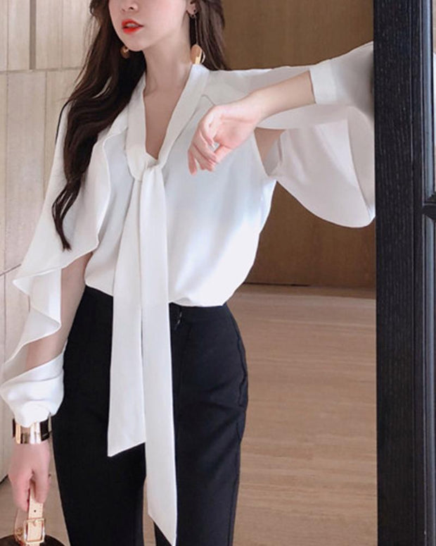 Tie Neck Open Sleeve Top