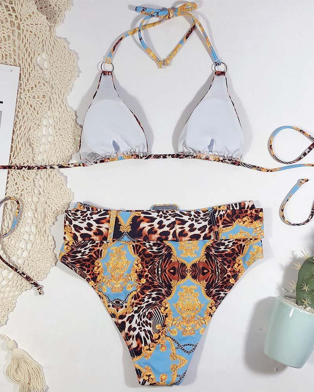 Bandage Halter High Waisted Bikini Sets
