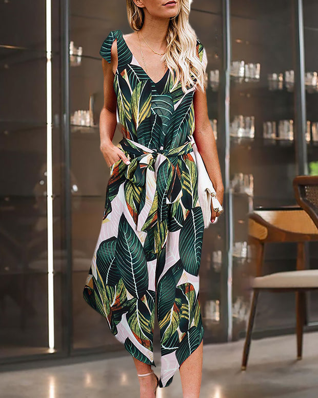 Print Striped Knotted Jumpsuit