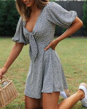 Deep V Tie Front Mini Dress