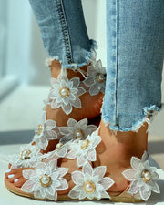 Toe Ring Flower Design Flat Sandals