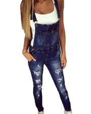 Distressed Denim Slim Overalls