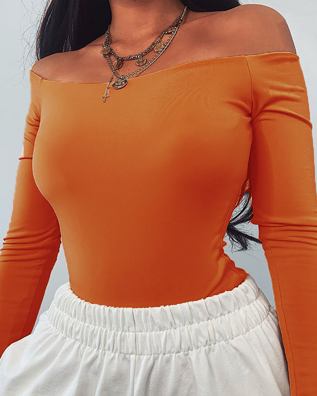 Solid Off Shoulder Long Sleeve Bodysuit