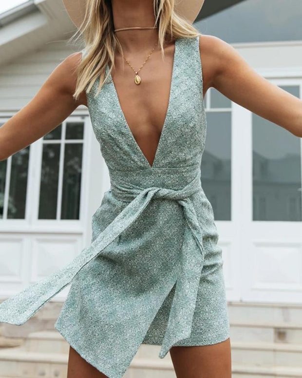 Deep V Tie Waist Dress