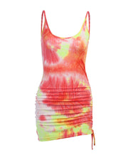 Drawstring Ruched Tie Dye Print Dress