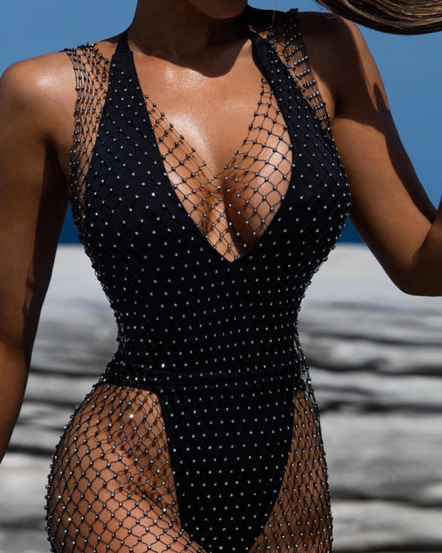 Studded Hollow Out Fishnet Cover Up