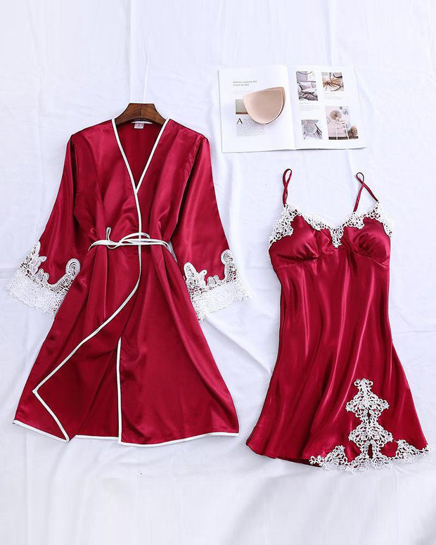 Contrast Lace Trim Robe & Camisole Set