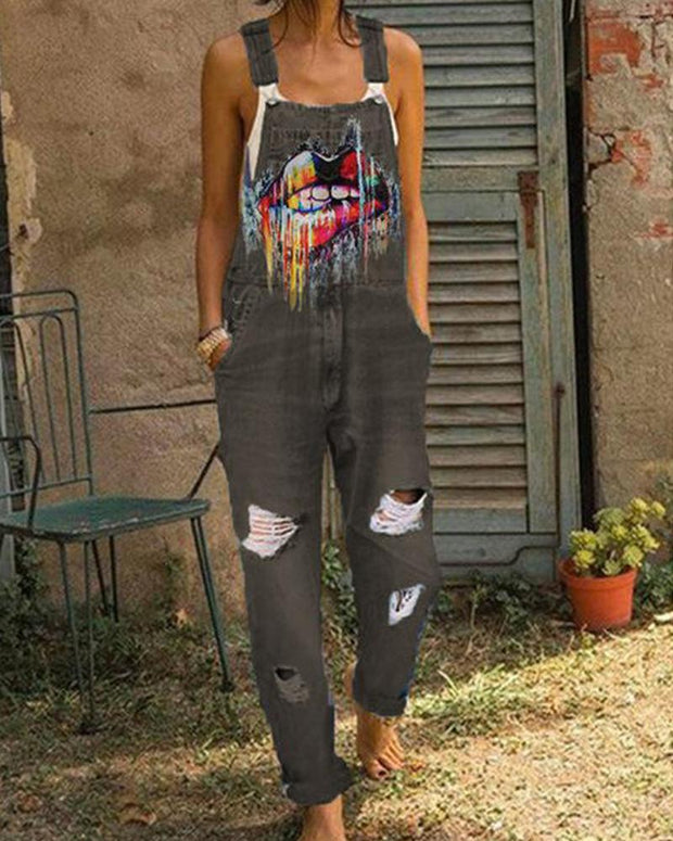 Mouth Print Denim Overall Jumpsuit