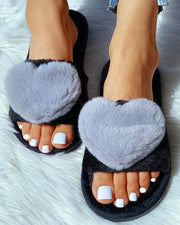 Open Toe Fluffy Heart Design Flat Slipper