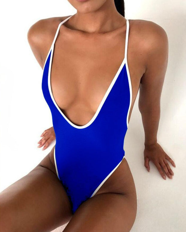 Color Border Sleeveless Skinny One-piece Swimwear