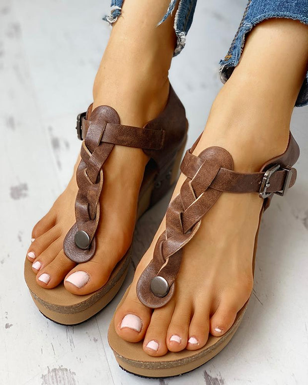 Rivet Design Toe Post Wedge Sandals