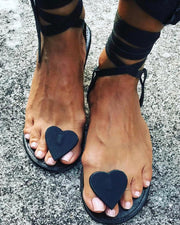 Heart Embellished Boho Sandals