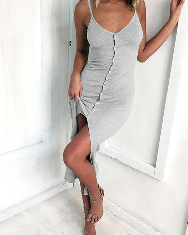 Solid Spaghetti Strap Bottoned Design Slit Dress