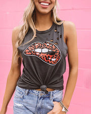 Lip Print Hollow Out Casual Top