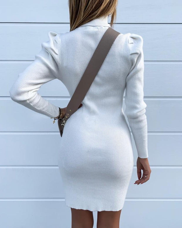 Solid Ribbed Puff Sleeve Bodycon Dress
