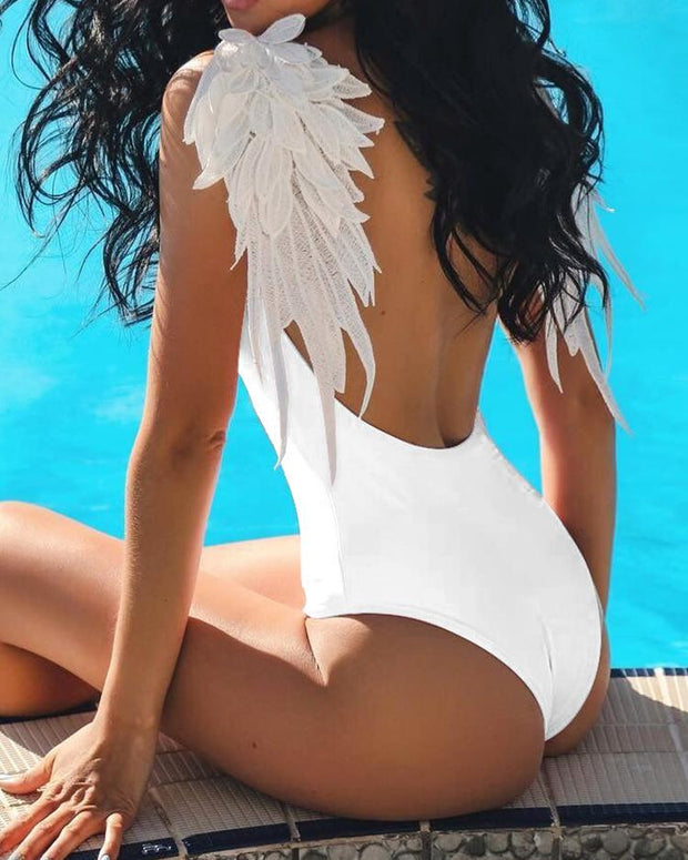 Angel Wing Patch Open Back One-Piece Swimsuit