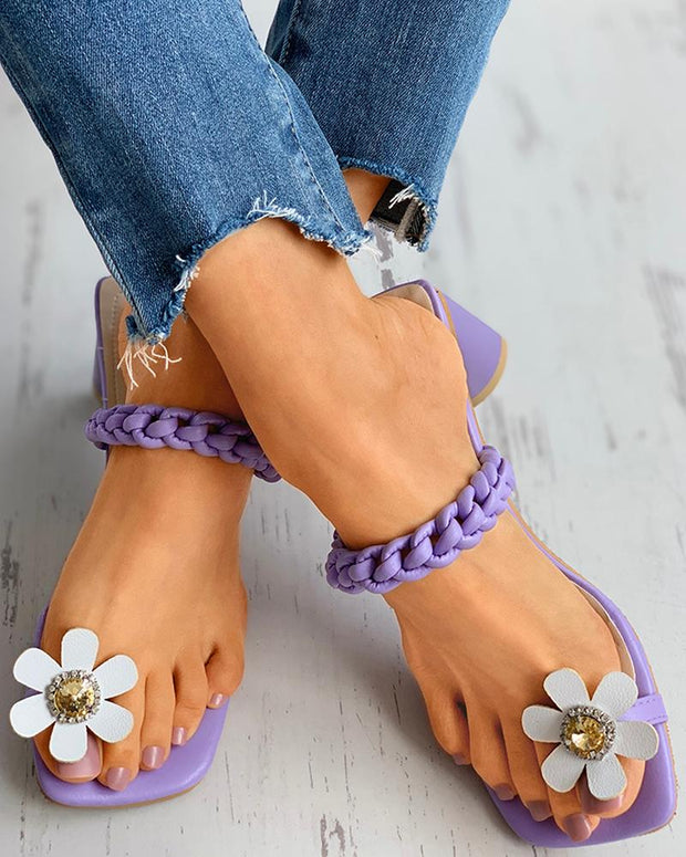 Floral Pattern Toe Ring Rhinestone Block Heels