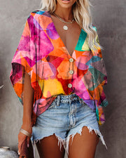 Floral Print Short Sleeve Loose Button-up Blosue