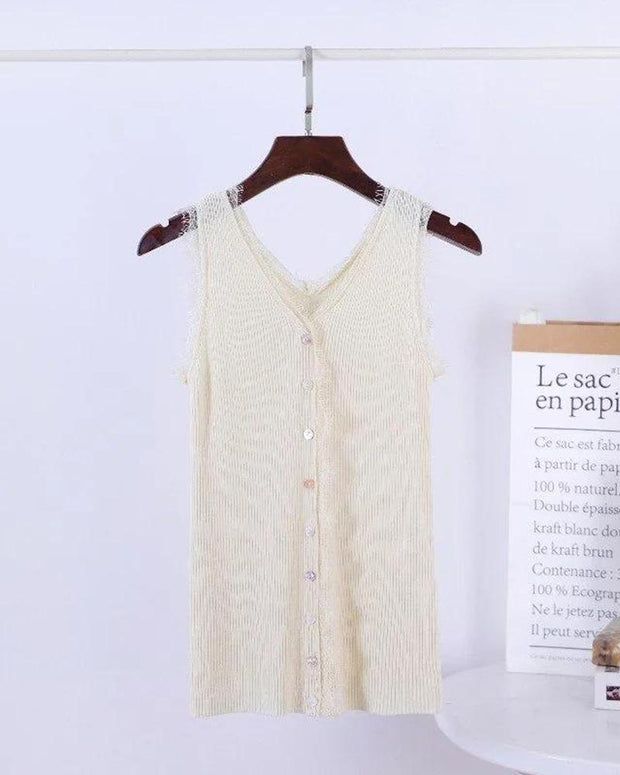 Lace Trim Button Front Tank