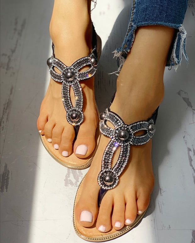 Studded Detail Toe Post Flat Sandals