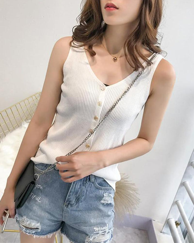 Solid Button Detail Tank Top
