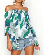 Off Shoulder Vegetal Print Top