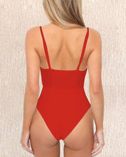 Sexy Plain Cut Out Swimwear