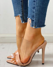 Open Toe Transparent Strap Thin Heeled Sandals
